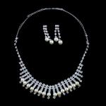 Natyrore kulturuar Pearl ujërave të ëmbla bizhuteri Sets, Pearl kulturuar ujërave të ëmbla, with Diamant i rremë, Round, natyror, e bardhë, 6-7mm, 7-8mm, :17.5Inç,  I vendosur