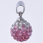 Varëse diamant i rremë, Round, punuar me dorë, me diamant i rremë, Lt Peach, 10x19mm, : 3x5mm, 10PC/Qese,  Qese