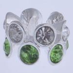 Zink Legierung Europa Perlen, Zinklegierung, Rondell, ohne troll & mit Strass, gemischte Farben, frei von Nickel, Blei & Kadmium, 7x10mm, Bohrung:ca. 5mm, 10PCs/Tasche, verkauft von Tasche