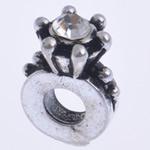 Beads European aliazh zink, Alloy zink, pa karrem & me diamant i rremë, 11x16x8mm, : 4.5mm, 10PC/Qese,  Qese