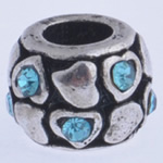 Beads European aliazh zink, Alloy zink, Daulle, pa karrem & me diamant i rremë, uji blu, , nikel çojë \x26amp; kadmium falas, 10x7mm, : 4mm, 10PC/Qese,  Qese