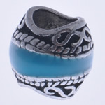 Beads European aliazh zink, Alloy zink, Daulle, asnjë, pa karrem & smalt, uji blu, , nikel çojë \x26amp; kadmium falas, 10x10mm, : 5mm, 10PC/Qese,  Qese