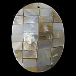 Pendants Natyrore Shell Verdha, Oval, natyror, approx 38x29x7mm, : 1.5mm, 10PC/Qese,  Qese