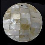 Pendants Natyrore Shell Verdha, Monedhë, natyror, approx 34x34x6mm, : 1.5mm, 10PC/Qese,  Qese