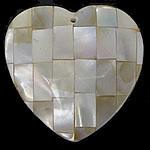 Pendants Natyrore Shell Verdha, Zemër, natyror, approx 33x33x6.4mm, : 1.7mm, 10PC/Qese,  Qese