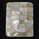 Pendants Natyrore Shell Verdha, Drejtkëndësh, natyror, approx 38x29x6mm, : 1.3mm, 10PC/Qese,  Qese