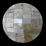 Pendants Natyrore Shell Verdha, Monedhë, natyror, approx 38x38x6.5mm, : 1.5mm, 10PC/Qese,  Qese