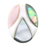 Pendants Shell, Predhë, Oval, approx 42x31x5mm, : 1.5mm, 10PC/Qese,  Qese
