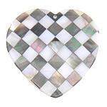 Pendants Natyrore Shell Mozaiku, Predhë, Zemër, approx 63x63x5mm, : 2mm, 10PC/Qese,  Qese