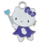 Animal Style Enamel Pendant, zinc alloy, hello kitty shape, more colors for choice, 21x18x2mm, Hole:Approx 3MM, Sold by PC