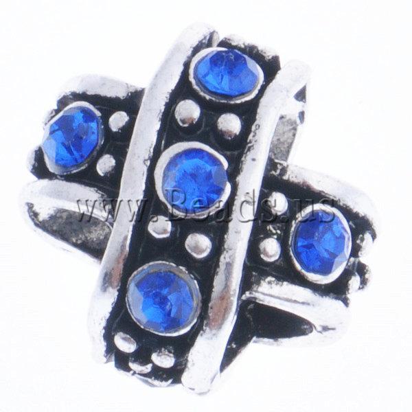 Beads European aliazh zink, Alloy zink, Kryq, pa karrem & me diamant i rremë, blu të errët, , nikel çojë \x26amp; kadmium falas, 10x10x11mm, : 5mm, 10PC/Qese,  Qese