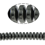Beads magnetik kuqe e mbylltë, Rondelle, e zezë, Një, 14x6mm, : 1.5mm, :15.5Inç, 10Fillesat/Shumë,  Shumë
