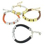 Cord Bracelets PU, Shape Tjera, asnjë, asnjë, ngjyra të përziera, 13mm, 4mm, :7-8.5Inç, 10Fillesat/Qese,  Qese