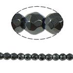 Non-Beads magnetik kuqe e mbylltë, Jo-magnetike kuqe e mbylltë, Round, e zezë, Një, 4x4mm, : 1mm, :15.5Inç, 10Fillesat/Shumë,  Shumë