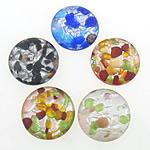 Pendants Lampwork Fashion, Round Flat, ngjyra të përziera, 25x25x7mm, : 1mm, 10PC/Shumë,  Shumë