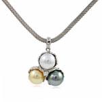 Akoya kulturuar Pearl gjerdan, Perlat Akoya kulturuar, with Kub kub & 925 Sterling Silver, Round, natyror, AAA, 11mm, 24x32mm, :15.5Inç,  15.5Inç,