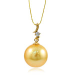 Natürliche Akoya Zuchtperlen Perlen Anhänger, mit kubischer Zirkonia & 14 K Gold, rund, goldfarben, 13mm, 13x23mm, Bohrung:ca. 1.5x3.5mm, verkauft von PC