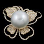Natyrore varëse Pearl Akoya kulturuar, Perlat Akoya kulturuar, with Kub kub & Gold 14K, Flutur, natyror, e bardhë, 15mm, 31x27mm, : 6x8mm,  PC