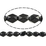 Schwarze Stein Perlen, schwarzer Stein, oval, natürlich, facettierte, 13x10x8mm, Bohrung:ca. 1mm, ca. 32PCs/Strang, verkauft per ca. 15.5 ZollInch Strang