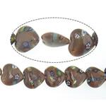 Beads Goldstone, Zemër, 20x20x8mm, : 0.8mm, : 14.5Inç, 10Fillesat/Shumë,  Shumë