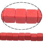 Beads Natyrore Coral, Coral sintetike, Kub, asnjë, i kuq, 6x6x6mm, : 1mm, : 15.5Inç, 66PC/Fije floku,  15.5Inç,