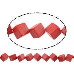 Beads Natyrore Coral, Coral sintetike, Kub, asnjë, i kuq, 10x10x10mm, : 1.5mm, : 15Inç, 28PC/Fije floku,  15Inç,