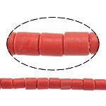 Beads Natyrore Coral, Coral sintetike, Tub, asnjë, i kuq, 4x3-4mm, : 1mm, : 15.5Inç, 96PC/Fije floku,  15.5Inç,