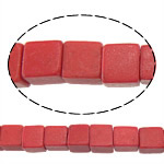 Synthetische Koralle Perle, Würfel, rot, 4.50x4.50x4.50mm, Bohrung:ca. 1mm, ca. 94PCs/Strang, verkauft per ca. 15 ZollInch Strang
