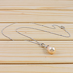 925 Sterling Silver gjerdan perlash, Pearl kulturuar ujërave të ëmbla, with 925 Sterling Silver, Lot, natyror, rozë, 11-12mm, :15.5Inç,  15.5Inç,