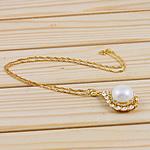 925 Sterling Silver gjerdan perlash, Pearl kulturuar ujërave të ëmbla, with Diamant i rremë & 925 Sterling Silver, Round Flat, natyror, e bardhë, 23x40mm, 15-16mm, :16Inç,  16Inç,