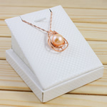 Ujërave të ëmbla Pearl gjerdan Zinxhiri tunxh, Pearl kulturuar ujërave të ëmbla, with Tunxh, Round, natyror, rozë, 11-12mm, 20x27mm, :17Inç,  17Inç,