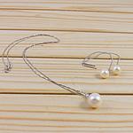Natyrore kulturuar Pearl ujërave të ëmbla bizhuteri Sets, Pearl kulturuar ujërave të ëmbla, Round, natyror, e bardhë, 11-12mm, 8-9mm, :18Inç,  I vendosur