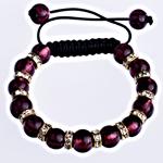 Clearance Woven Ball Armbänder, Lampwork, mit Wachsschnur & Messing, rund, gewebt, mit Strass, dunkelviolett, 10mm, verkauft per 7 ZollInch Strang