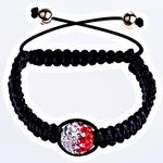 Tunxh Shamballa Bracelets, with Polymer Clay & Cord Wax, Shape Tjera, me diamant i rremë, e zezë, , nikel çojë \x26amp; kadmium falas, 14mm, :6.5Inç, 10Fillesat/Qese,  Qese
