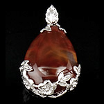 Pendants Red agat, Lot, 44x27x7mm, : 8mm, 10PC/Qese,  Qese