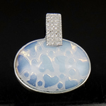 Deti Pendants opal, Deti Opal, with Tunxh, Oval, 34x32x8mm, : 6mm, 10PC/Qese,  Qese