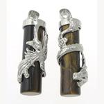 Syri Tiger Pendants, with Tunxh, Tub, natyror, për çift, 37x12mm, : 6mm,  Palë