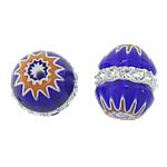 Millefiori Glass Beads, Oval, me diamant i rremë, blu, 11.50x10mm, : 0.5mm, 10PC/Qese,  Qese