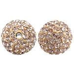 Çekë Beads diamant i rremë, Round, asnjë, me diamant i rremë, ar, PP13, 12mm, : 2mm, 10PC/Qese,  Qese