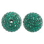 Çekë Beads diamant i rremë, Round, asnjë, Smerald, PP13, 14mm, : 2mm, 10PC/Qese,  Qese