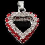 Varëse diamant i rremë, Zemër, me diamant i rremë, 17x20x9mm, : 4mm, 20PC/Qese,  Qese