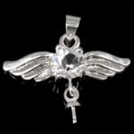 Zink Alloy Peg dorëzani, Alloy zink, Shape Wing, Ngjyra argjend praruar, me diamant i rremë, asnjë, , nikel çojë \x26amp; kadmium falas, 24x18x5mm, 0.7mm, : 4mm, 100PC/Qese,  Qese