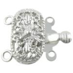 Zink Alloy Box kapje, Alloy zink, Oval Flat, Ngjyra argjend praruar, 2-fije floku, asnjë, , nikel çojë \x26amp; kadmium falas, 14x9x6mm, 100PC/Qese,  Qese