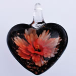 Pendants Inner Lampwork Lule, Zemër, lule e brendshme, 37x30.50x14mm, : 5mm, 10PC/Qese,  Qese