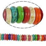 Bruz Beads, Bruz sintetike, Rondelle, ngjyra të përziera, 8x2.50mm, : 1.5mm, : 15Inç, 150PC/Fije floku,  15Inç,