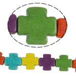 Bruz Beads, Bruz sintetike, Kryq, ngjyra të përziera, 15x4mm, : 1.5mm, : 15.5Inç, 26PC/Fije floku,  15.5Inç,
