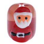 Krishtlindjeve Glass Beads, Xham, Daulle, brushwork, i kuq, 17x15mm, : 2mm,  PC