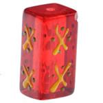 Weihnachten Glasperlen, Glas, Rechteck, Pinselführung, rot, 20x10mm, Bohrung:ca. 1.5mm, verkauft von PC