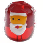Krishtlindjeve Glass Beads, Xham, Daulle, brushwork, 18x15mm, : 1.5mm,  PC