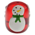 Krishtlindjeve Glass Beads, Xham, Daulle, brushwork, 18x15mm, : 2mm,  PC